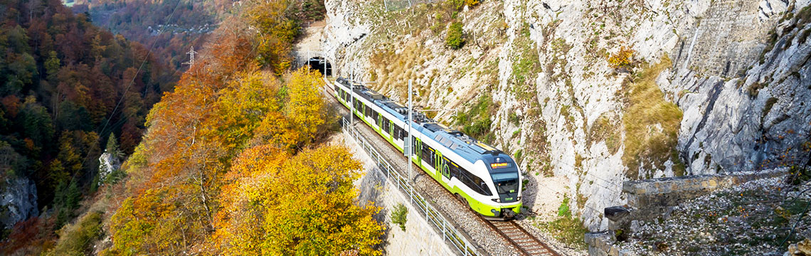 Train leaves from mountain tunnel